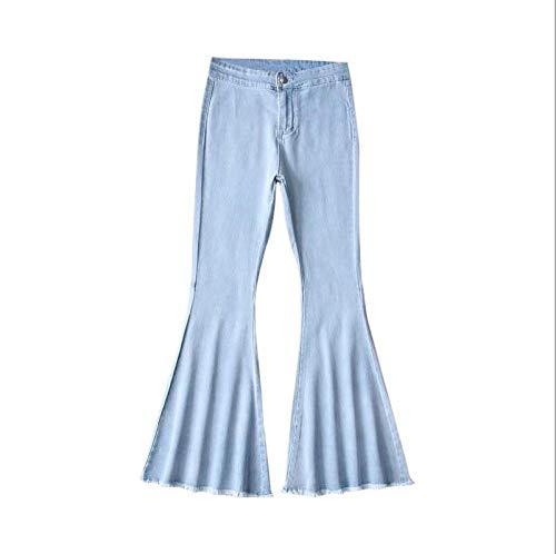 TANGYUAN Damen Bell-Bottom-Jeans Weitem Bein Jeans Hohe Taille Jeans Gerades-Bein Schlank Denim Hose Stretch Lang Jeanshosen, Light_Blue_M - Hohe Bell-bottom-jeans Taille