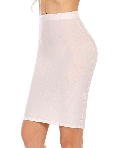 ADOME Unterröcke Unterkleid Miederrock Elastische Underskirt Figurformender Shapingkleid Halbrock Miederkleid für Damen, Blau Schwarz Weiß - S M L XL Weiß