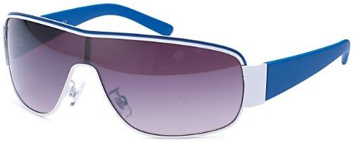 Feinzwirn Designer Visor Sonnenbrille mit Monoscheibe und Verlaufsglas Unisex Sonnenbrillen (blau)