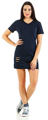 Mr. Shine® –Damen Elegantes Oberteil Festliches Longshirt Große Größen Shirts Kurzarm Fashion Bluse Oversize In den Größen S, M, L, XL, XXL, XXXL Navy Blau