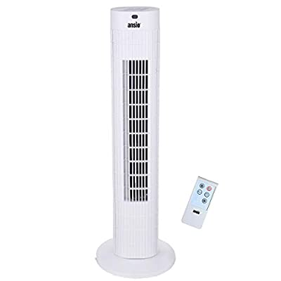 ANSIO Tower Fan 30-inch with Remote For Home and Office, 7.5 Hour Timer, 3 Speed Oscillating Cooling Fan with 2 Year Warranty - White