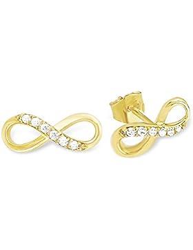 amor Damen-Ohrstecker Infinity Unendlichkeitszeichen 375 Gelbgold Zirkonia weiß-539081