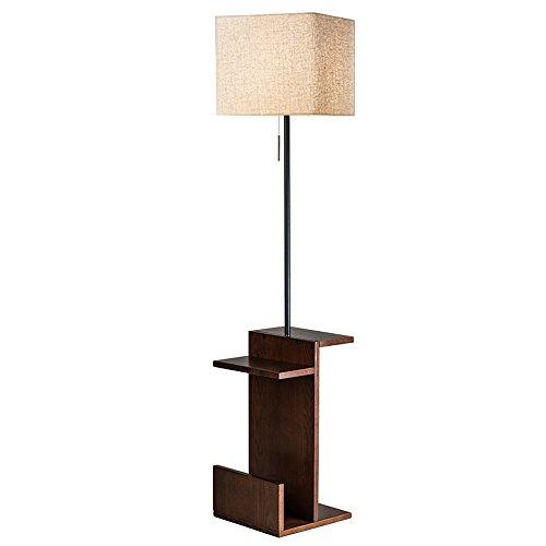 HJR Stehleuchte Wohnzimmer Einfache Moderne Creative Tea Licht Schlafzimmer Nordic Vertical Tischleuchte American Style Stehleuchte (Farbe : Black Walnut Light Body+Linen Shade) -