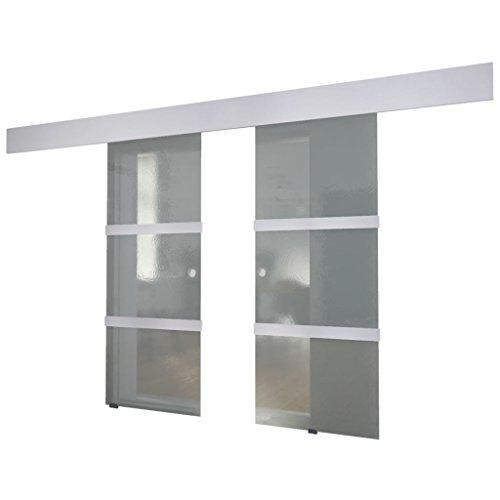 vidaXL Puerta Corredera Deslizante Moderna Salón Doble Cristal Aluminio Blanco