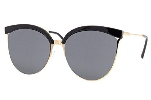 Cheapass Sonnenbrille Cat-Eye Schwarz Gold Designer-Brille Groß XXL UV400 Metall Damen Frauen