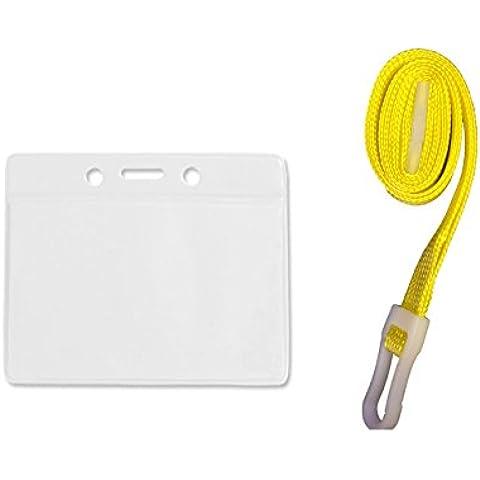 ID Card It - Porta badge/cartellini e laccetto con apertura di sicurezza giallo