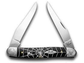 CaseXX XX Spider Web Black Delrin Scrolled Bolster 1/500 Muskrat Pocket Knife Knives