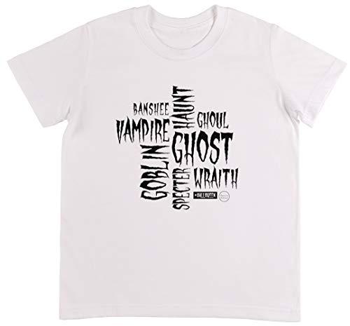 Halloween Words in White - Halloween Weiß T-Shirt Jungen Mädchen Größe 3XS   Unisex Kids White T-Shirt Size 3XS