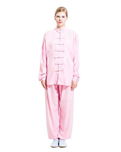 icnbuys Damen Tai Chi Uniform Baumwolle Seide, damen, rose (Ein-knopf-seide-anzug)