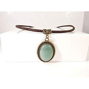 """Halskette aus Kork""""Aventurin"""" Bronzefarben"""