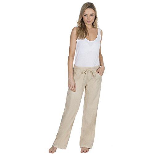 Metzuyan - Womens Linen Trousers Summer Drawstring Pants Sizes 10-14 Assorted Colours