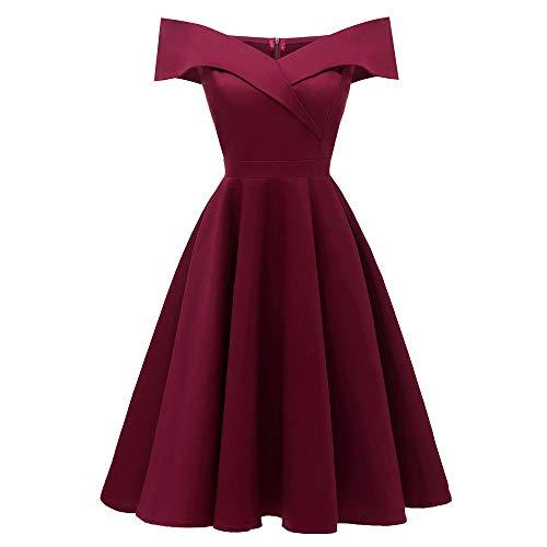 Damen Elegant Kleid V-Ausschnitt Schulterfrei Ärmellos Prinzessin Kleid Vintage Cocktailkleid Einfarbig Partykleider Abendkleider Swing-Kleid Langes ()