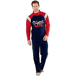 Juego de Pijama térmico para Hombre con Forro Polar y Cremallera Azul Navy-Red XL