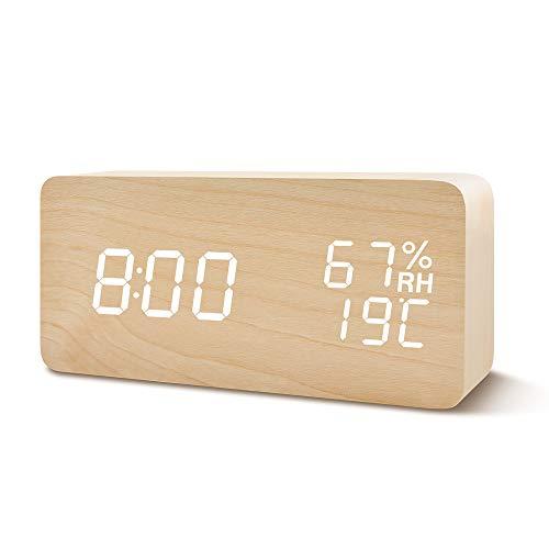FIBISONIC Wecker Digitale Tischuhr LED Datum Feuchtigkeit Temperatur Holz Standuhr Dekoration Alarm