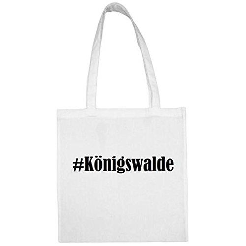Tasche#Königswalde Größe 38x42 Farbe Weiss Druck Schwarz