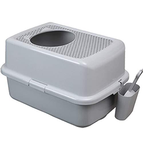PDDJ Halb geschlossene Katzen-WC-Top-Einstiegs-Katzentoilette mit Schaufel für Katzen,Gray