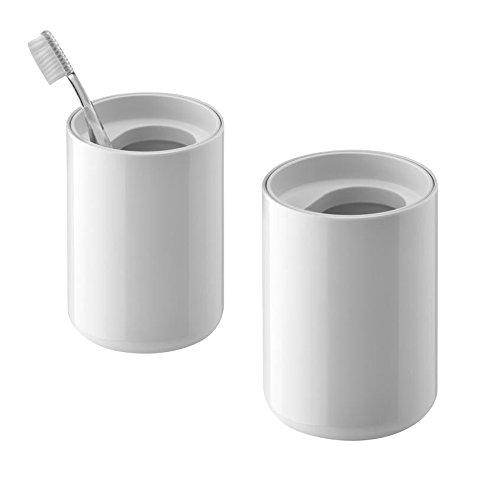Lunar - Set de 2 gobelets pour brosse à dents blanc/blanc