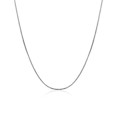18 ct 750 White Gold Fine Classic Box Chain Necklace With Spring Ring Clasp, 1mm, 40cm/ 16 Inch, Jewellery