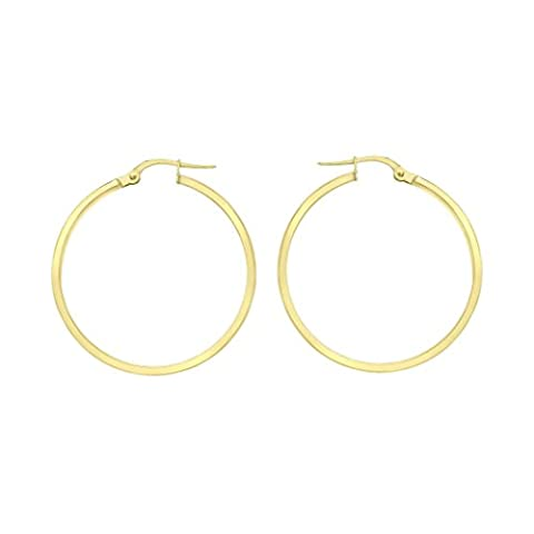 Carissima Gold 9 ct Or jaune 40 mm Rectangular Tube Creole Earring