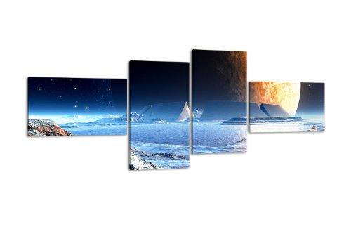 Leinwandbild Neuer Planet LW354 Wandbild, Bild auf Leinwand, 4 Teile, 200x90cm, Kunstdruck Canvas, XXL Bilder, Keilrahmenbild, fertig aufgespannt, Bild, Holzrahmen, Space, Weltall, Mond,