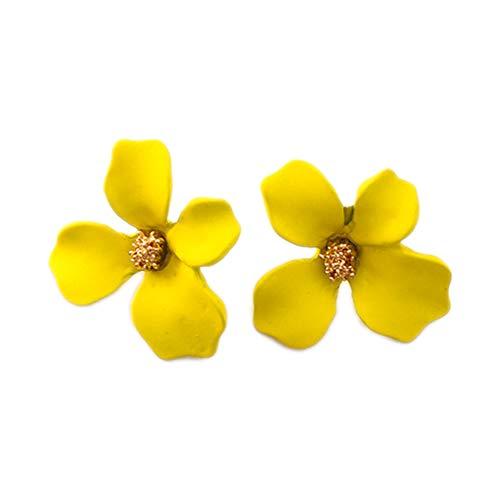 Pendientes amarillos pequeños con forma de flor