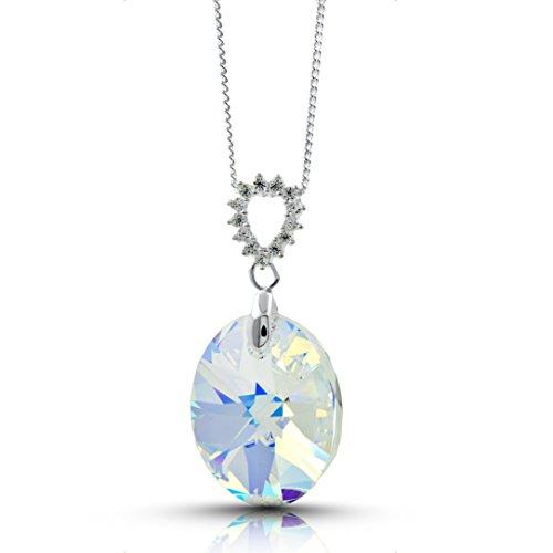 Premium Aurora Borealis Kristall Halskette mit Swarovski Kristallen - stilvolle handgefertigte Anhänger Halskette, Superior-Qualität 925 Sterling Silber mit Сubic Zirkonia, Elegantes Design (Aurora Blau Kleid)