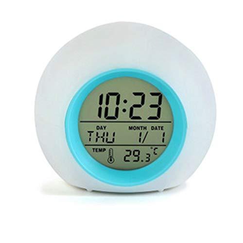XSM Wecker für Kinder Schlafzimmer, Wake Up Light Digitaluhr mit Innentemperatur u0026 Kalender u0026 6 natürlichen Sound u0026 7 Farben wechselndes Licht (blau)
