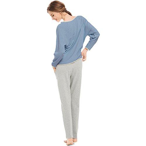 Tailleur stile western Pigiama Primavera e autunno Manica a pipistrello in cotone Maniche lunghe Girocollo Sciolto ( Color : Purple , Size : M ) Blue