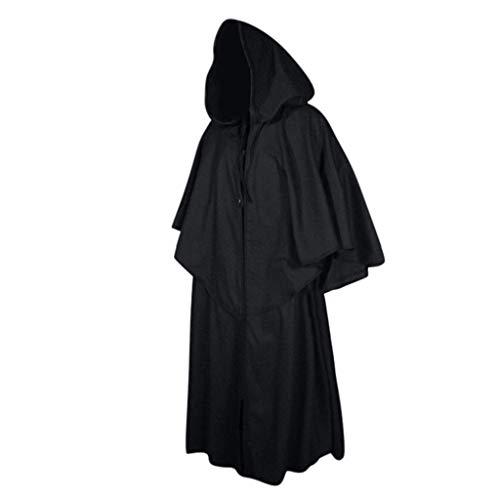 TIREOW Schwarz Kapuzen Umhang Halloween Kostüm Mittelalter Pagan Hexe Kleid Wicca Vampir Lang Cape Mönch Robe Cosplay Anzug (S)
