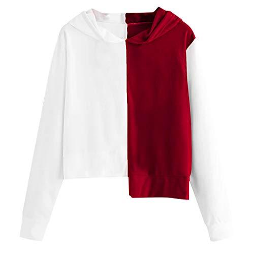ZHMEI Stitching Contrast Sweater Sudadera Capucha