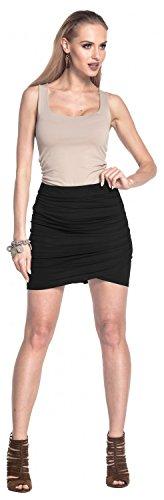 Glamour Empire. Damen Jersey Elastische Tulpenrock Drapierte Mini Länge. 556 Schwarz