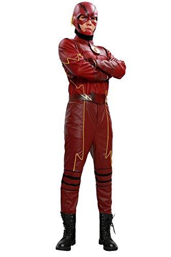 Nexthops costume carnevale da uomo rosso in pelle full suit 4 pz di tops + pantaloni + cintura + guanti deluxe outfit lussuosso accessorio halloween pasqua capodanno per adulti unisex s