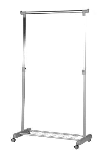 Premier Housewares - Perchero de barra con estante para zapatos y ruedas, color cromo y gris