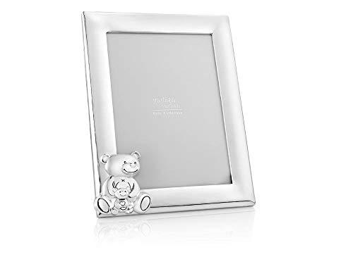 Brillibrum Design Kinder Bilderrahmen Teddy Motiv versilbert Baby Fotorahmen Silber glänzend 13x18 Hochformat mit Bärchen