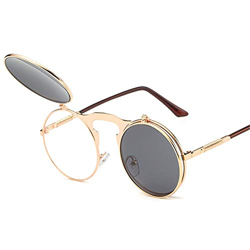 Sport-Sonnenbrillen, Vintage Sonnenbrillen, Retro Personality Punk Rock Sunglasses Steam Round Clamshell Glasses Male Female Spiegel Model Sun Glasses Women Men Brand Design as picture C1
