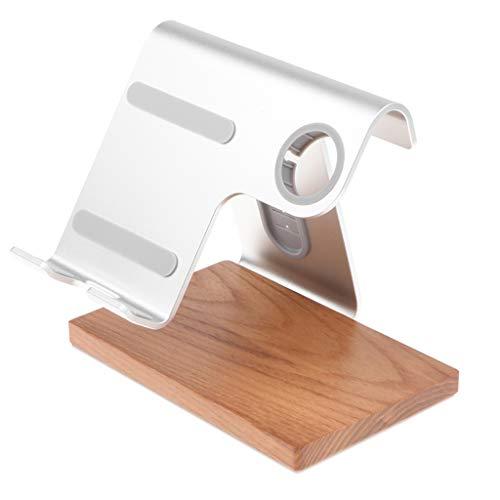 MagiDeal Ladestation aus Holz Handy Halter Dockingstation mit Armband Halterung für iWatch, iPhone - Silber