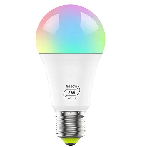Bombilla inteligente WiFi, regulable, multicolor, bombilla LED E27, no requiere concentrador, compatible con Alexa y Google Assistant,7W(equivalente a 60W)