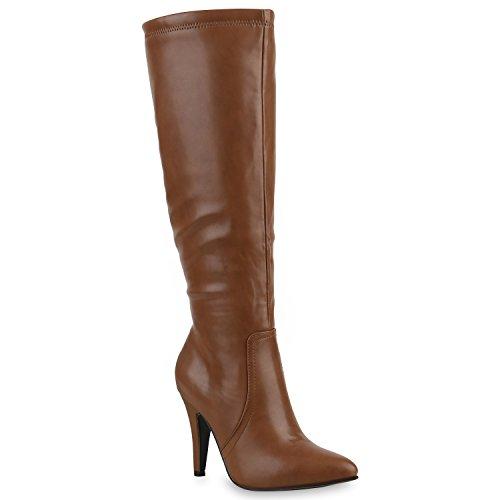 Elegante Damen Stiefel High Heels Boots Stilettos Gefüttert Braun