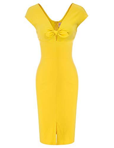 Belle Poque bleistiftkleid Knielang Rockabilly Pencil Kleid Damen sexy Stretch Bodycon Kleid etuikleid BP875-3 L (Für Frauen Belle-kleid)