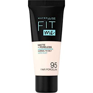 Maybelline New York – Fit Me, Base de Maquillaje Mate Afina Poros, Tono 105 Natural Ivory – 30 ml