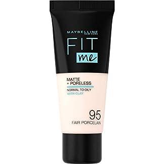 Maybelline New York – Fit Me, Base de Maquillaje Mate Afina Poros, Tono 095 Fair Porcelain – 30 ml