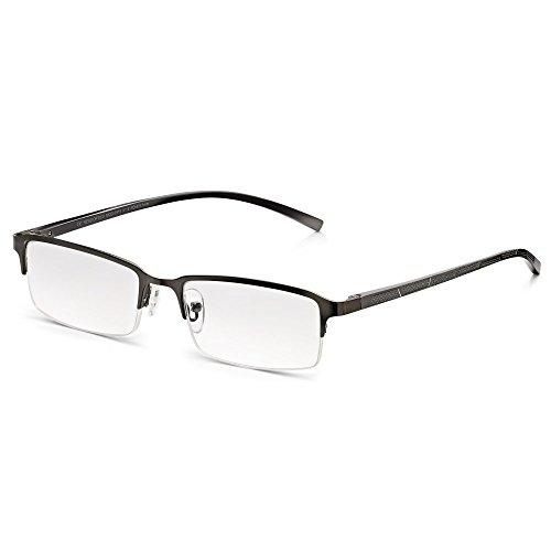 Read Optics Herren Lesebrille: Moderne rechteckige Halbrandbrille mit Sprung-Scharnieren. Entspiegelte Premium DifuzerTM Gläser in Stärke +1,0 mit UV Schutz. Hochqualitative Brille ohne Verschreibung