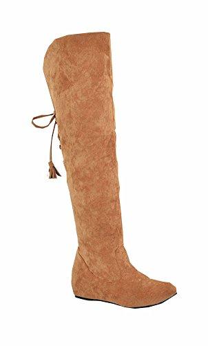 Große Größe 34.5-41.5 Schnee lädt die warme Winter-Pelz-flache Schuhe Mode Frauen Stiefel Overknee-Stiefel Gelb