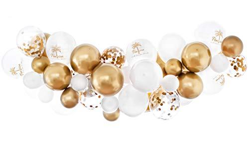 ension, Gold & Weiß , Ballon Girlande für die Abschiedsfeier, Party Dekoration im Deutschen Print Design ()