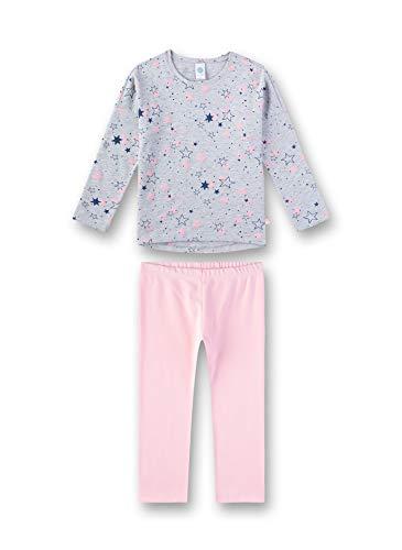 Sanetta Mädchen Pyjama Zweiteiliger Schlafanzug, Grau (Hellgrau Melange 1646), (Herstellergröße: 140)