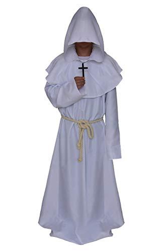 Mönch Mittelalterliche Erwachsenen Für Kostüm - JFQ-Party Mask Halloween Cosplay Kostüm, Mittelalterliche Mönch Priester Robe Zauberer Kleidung Christian Kleidung Anzüge,Weiß,L