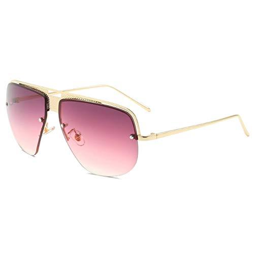 YHgiway Retro Classic Aviator Sonnenbrille für Männer Fashion Gradient Lens Shades Sun Brillen Halb-Rahmen mit Case YH7155,GoldFrame/PurpleGradient