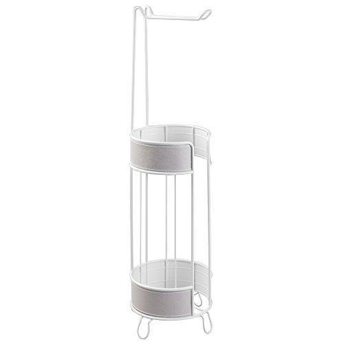 InterDesign Lauren Free Standing Porta rotolo di carta igienica per bagno, in acciaio, colore: grigio/bianco, 2 pezzi