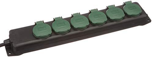REV Ritter 0512469555 Steckdosenleiste 6-fach IP44 mit Kinderschutz 1.4 m, schwarz-Grün