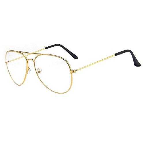 Forepin® Montura Gafas de Aviador para Unisex Hombre y Mujer con Montura de Metal-acero Fino Retro Vintage Lente Transparente Visión Clara - Oro